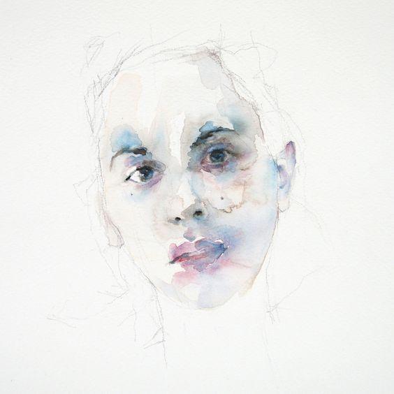 """Saatchi Online Artist: Leo Van Der Meer; Watercolor 2013 Painting """"Kara #4"""""""