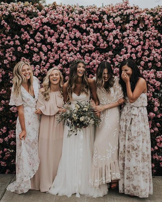 Bridesmaids In Mismatched Floral Maxi Dresses And In Blush Ones For A Tender And Wedding Bridesmaid Dresses Bridesmaid Dresses Boho Printed Bridesmaid Dresses
