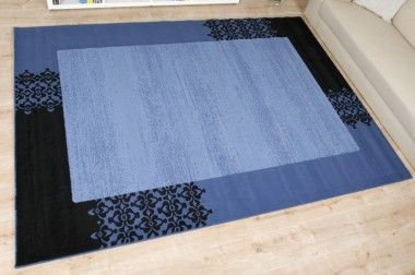 Moderner Teppich Paradiso Bordüre blau