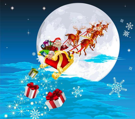 santa claus pictures | Santa Claus y sus renos van repartiendo regalos de Navidad por todos ...