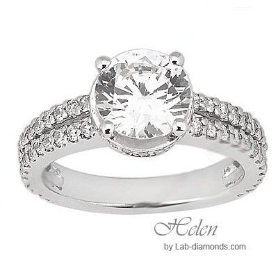 Helen Lab Diamond Engagement Ring - Very unique split shank round center with micro-pave accents on the side and base of the head. $1875.00 - http://www.lab-diamonds.com/engagement-rings/split-shank-html/helen-engagement-ring.html