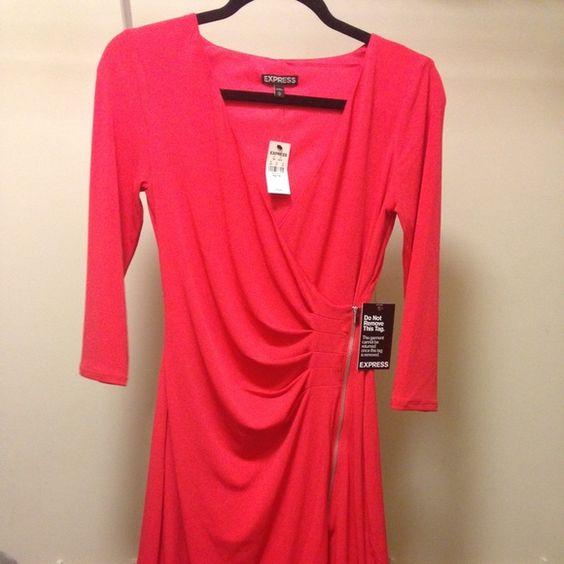 Red Express Wrap Zipper Dress New With Tags XS Express red wrap dress with zipper detail. Size XS. New with tags. The red is a cherry orange red. Express Dresses Mini