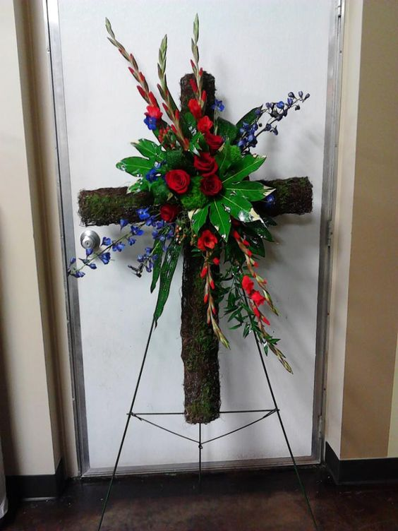 Twig And Moss Cross With Fresh Flowers Funeral Work