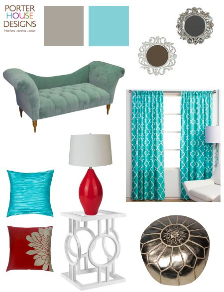 red and turquoise home decor - Saw some really cool red lamps like these at the store the other day.