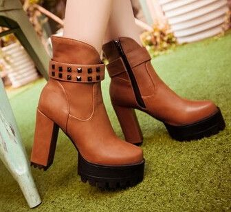 2015 women new fashion spring autumn 11.5cm high thick heels round toe martin short boots shoes large plus size 40-43