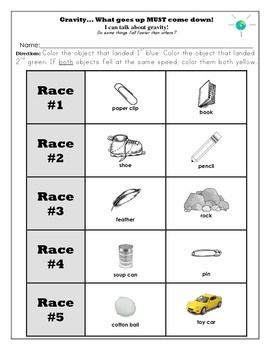 Printables Gravity Worksheets gravity unit and worksheets kindergarten race experiment color the object that landed blue green if both objec