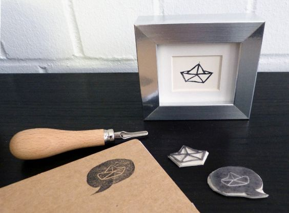 Carve your own stamps. Cute origami boats.
