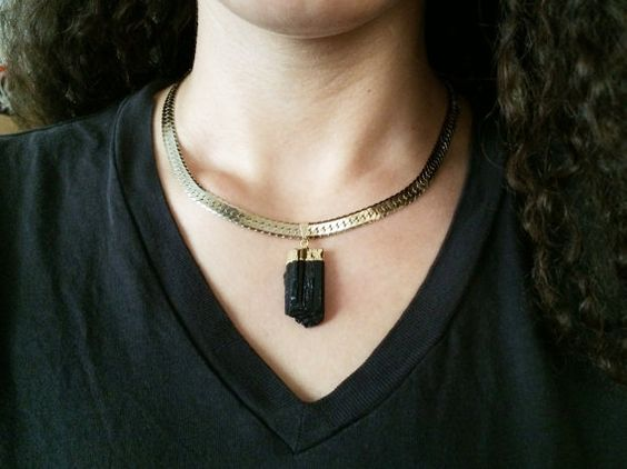 Black Tourmaline Gold Necklace Raw Crystal by AtelierYumi on Etsy