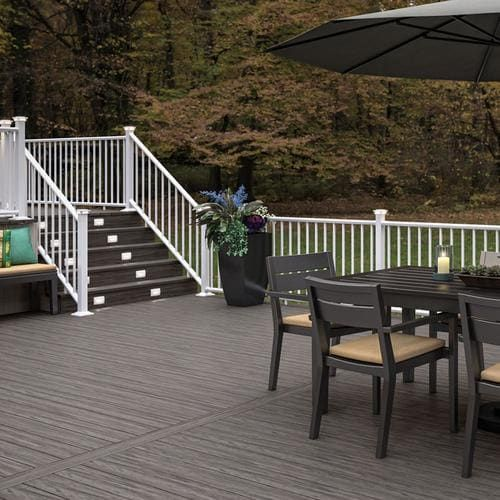 Deckorators Classic Aluminum Textured White Aluminum Deck Stair Rail Kit With Balusters Lowes Com In 2020 Deck Stair Railing Aluminum Railing Deck Aluminum Decking
