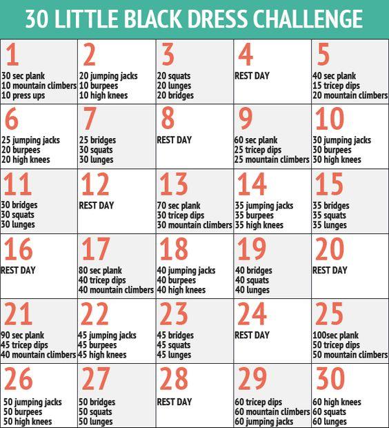 30 Day Little Black Dress Workout Fitness Challenge