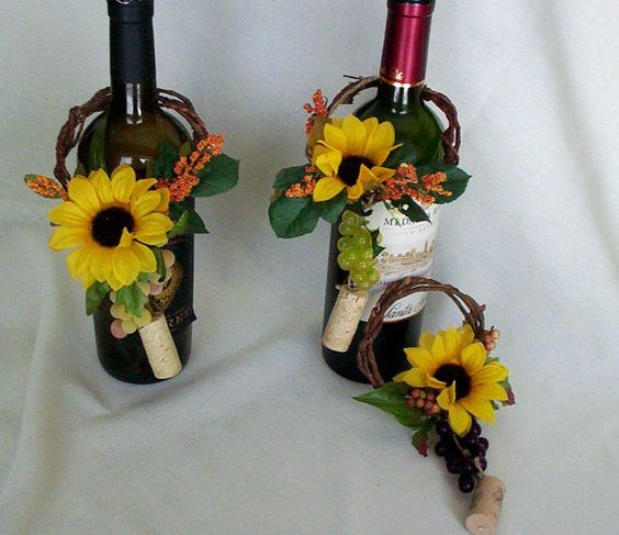 Flower Arrangements In Wine Bottles: Autumn Wine Bottle Toppers Fall Decoration Hostess Gifts