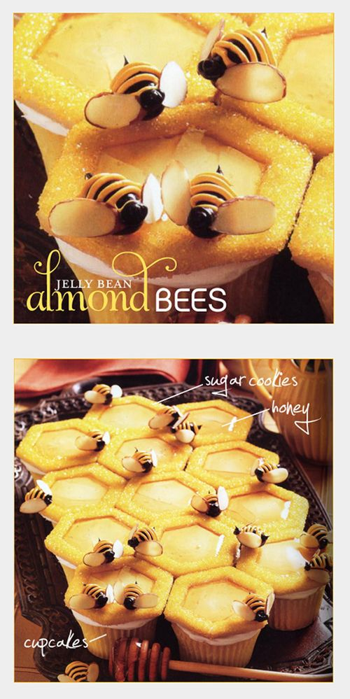 """Bees"" are made up of black jelly beans, sliced almonds, and yellow & black frosting. The ""Hive"" is constructed of vanilla cupcakes topped with hexagon-shaped sugar cookies covered in yellow decorating sugar. To create the ""honeycomb"" effect, the center portion of the dough was removed from each sugar cookie before baking. This step also creates the perfect space for drizzling a little honey before topping with an adorable jelly bean bee. -HWTM (What's New, Cupcake? Karen Tack, Alan…"