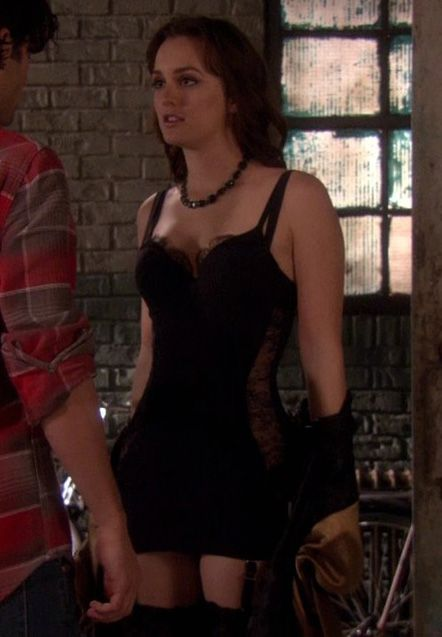 Blair's black lace lingerie on Gossip Girl.  Outfit details: http://wornontv.net/3374/
