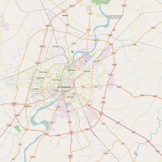 Editable City Map of Ahmadabad