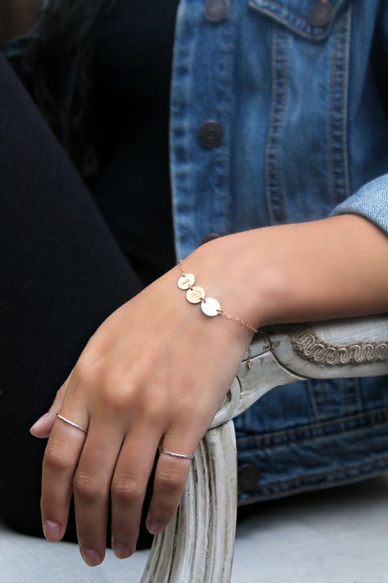 Three 3 Initials bracelet All 14k gold filled by potionumber9, $32.00
