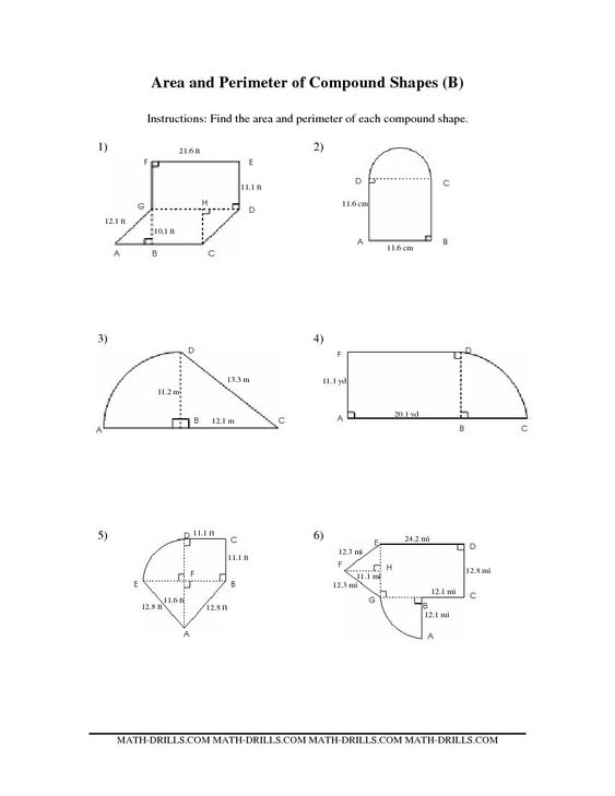 Compound Area worksheets – Composite Area Worksheet