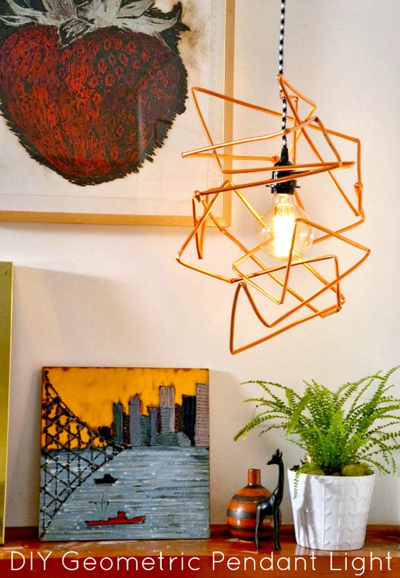 HGTV Crafternoon: DIY Copper Geometric Pendant Light (http://blog.hgtv.com/design/2014/02/18/diy-copper-geometric-pendant-light/?soc=pinterest)