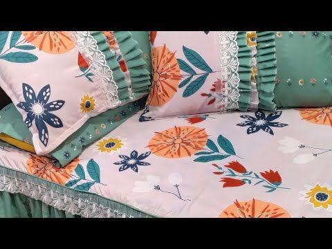 خياطة طقم سرير بكرانيش من خمسة متر قماش روعه Youtube Bed Pillows Pillows Bed