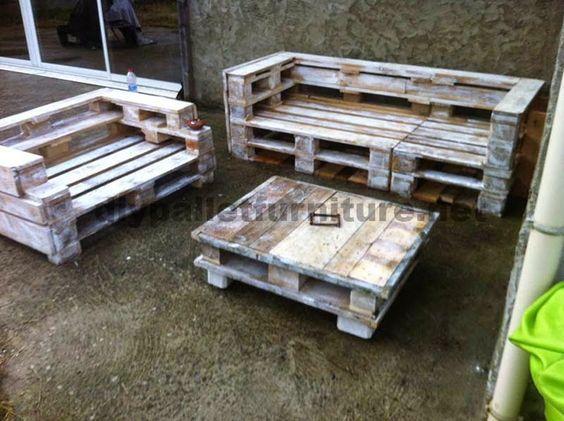 Muebles de palets set de muebles de palets con sof y for Sofa exterior con palets