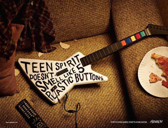 """Agência: Rethink Canadá Cliente: Sparrow Guitars (marca de guitarras) Conceito: Será que o espírito jovem cantado por Kurt Cobain, vocalista do Nirvana, no clássico """"Smells Like Teen Spirit"""", tinha algo a ver com 5 botões de plástico?"""