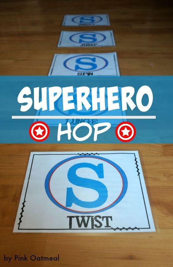 Superhero Gross Motor Game – Superhero Hop  What a fun way to get the kids moving!