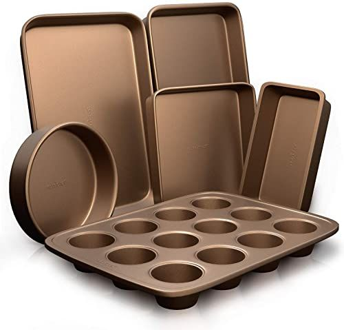 New 6 Pcs Nonstick Bakeware Set Highest Quality Baking Sheets Non Grease Cookie Trays Wide Square Bake Pan Bread Loaf Round Cake Pan Designed Not To Wra In 2020 Bakeware Set Baking Pans