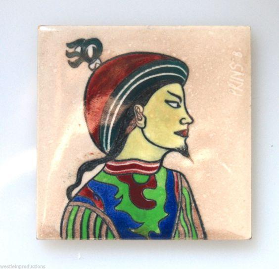 Vintage/Antique Hand Painted Asian Man on Robertson Tile- Simple Yet Good Art in Antiques, Decorative Arts, Ceramics & Porcelain, Tiles | eBay