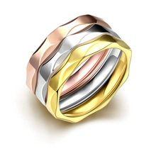 SJTGR026 Onda Irregular Forma Chapeamento de Ouro De Aço De Titânio de Três…