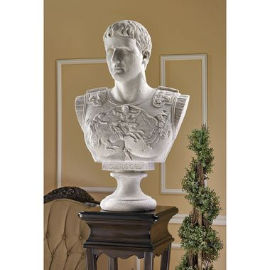 Caesar Augustus of Prima Porta Grand-Scale Sculputral Bust. Grand-scale bust sculpted in painstaking detail from the original in the Vatican Museum, which was discovered on April 20, 1863 in the villa of Liva at Prima Porta, near Rome. As the commander-in-chief of the Roman army, Caesar Augustus is shown proclaiming triumph to his troops. From his distinctively handsome features to the detailed, bas-relief breastplate armor, this gallery statue has fascinated generations. $189