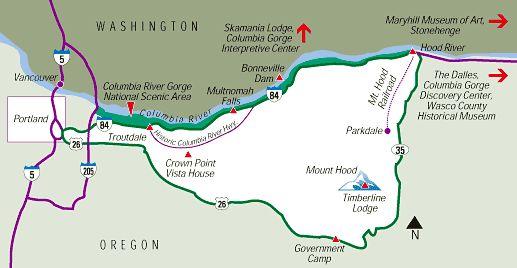 mt hood columbia gorge day trip form Portland Gorge Map 2 northwest Pint