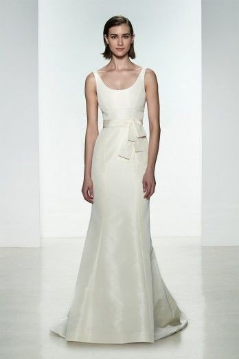 """Amsale """"Cate"""" gown. Faile De Soie scoop neck fit to flare gown."""