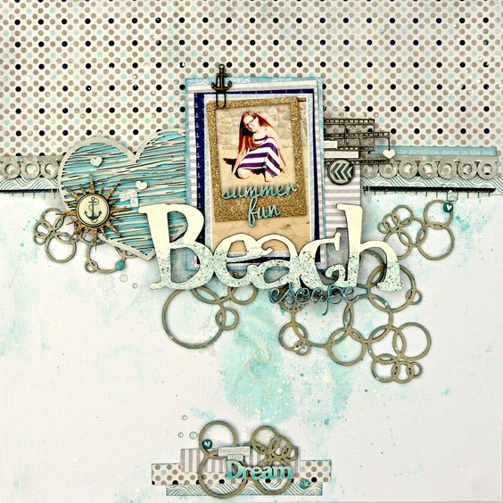 Beach Escape layout tutorial for 2Crafty Chipboard DT   Nov 2015