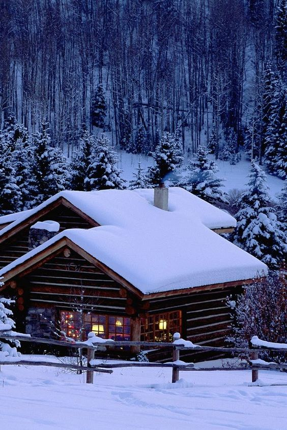 Winter s night in this cozy log cabin sipping hot