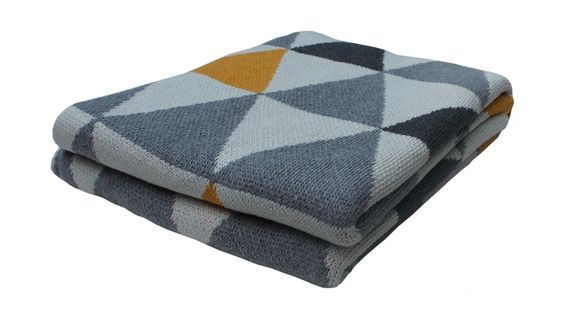Grey and Sunny Eco Throw by Happy Habitat