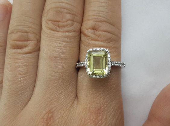 emerald cut ring, halo ring, lemond quartz, by JCPpearl