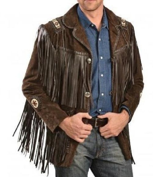Mens Western Jacket Black Cowboy Fringe Style Beads Patch Wear Suede Leather 80s