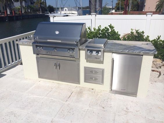 Summer Kitchen With Alfresco Grill Double Side Burner And Refrigerator Outdoor Kitchens