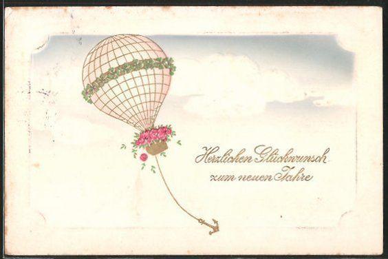 alte Präge-AK Ballon mit Rosenblüten und Anker 1913 in Sammeln & Seltenes, Ansichtskarten, Motive | eBay