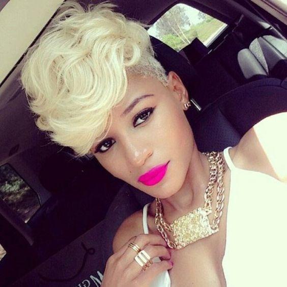 Platinum Blonde Mohawk Hairstyle For Black Women Shar