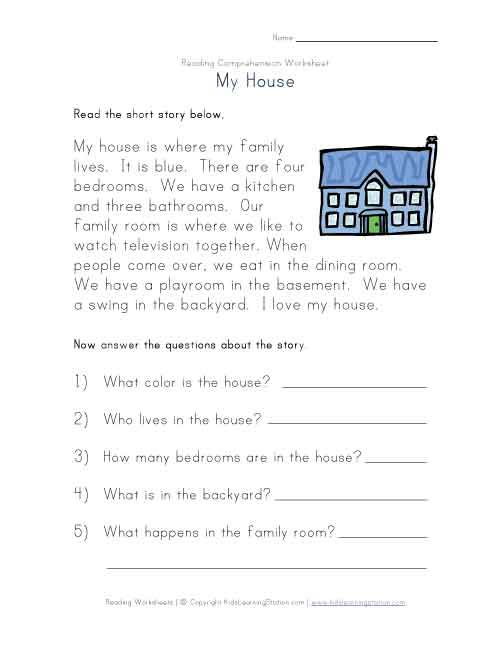 free print kindergarten comprehension worksheets | View and Print ...