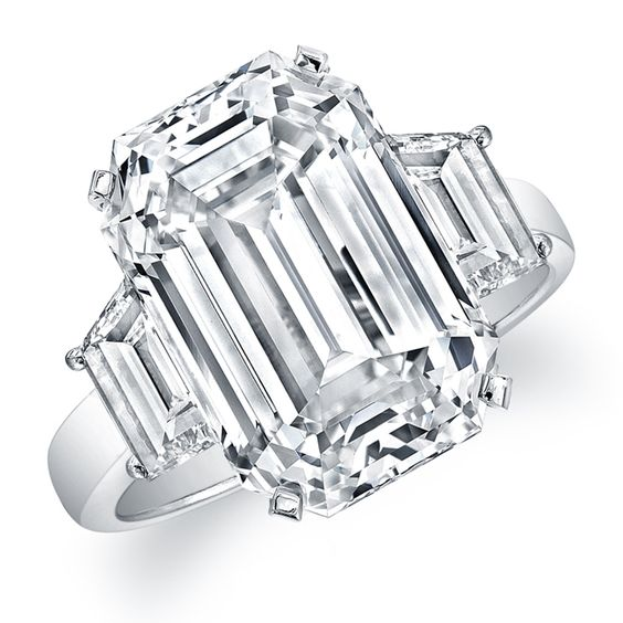 Emerald Cut Ring set it 18K White Gold with Trapezoid Cut Diamonds on the side #RahaminovDiamonds