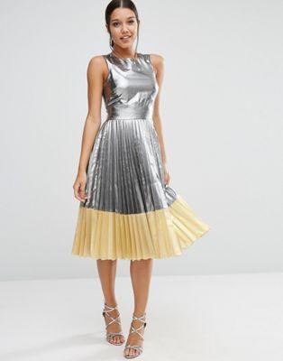 ASOS Sheer And Solid Metallic Pleated Midi Dress: