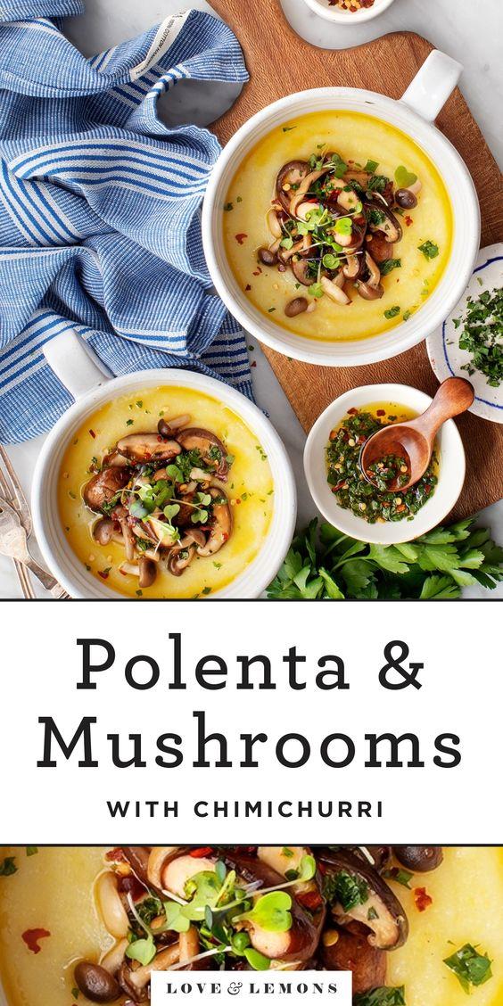 Polenta with Chimichurri & Mushrooms Recipe - Love and Lemons