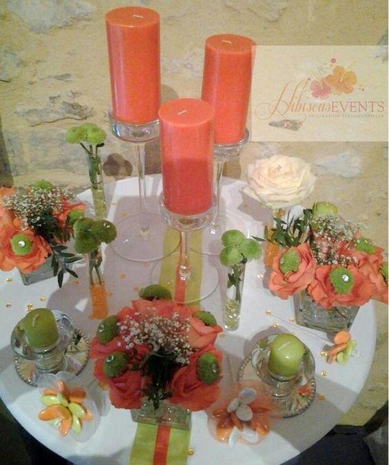 Déco orange et vert anis | Décorations de tables | Pinterest | Orange