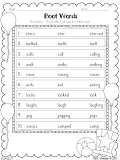 Root Words----- use red pen to cut words into base & suffix | 3rd ...