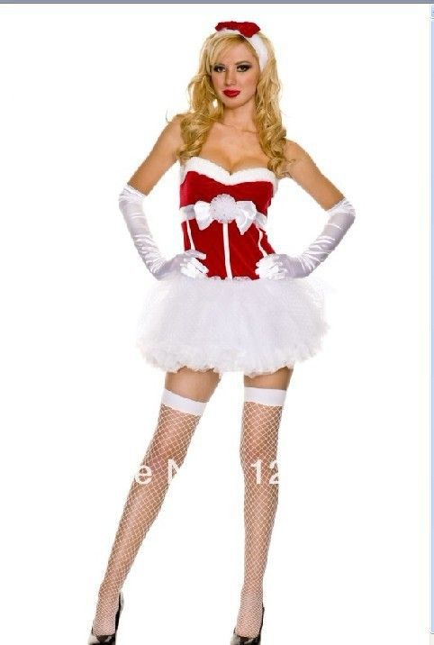 Sexy red white christmas santa claus tutu skirt women costumes dress