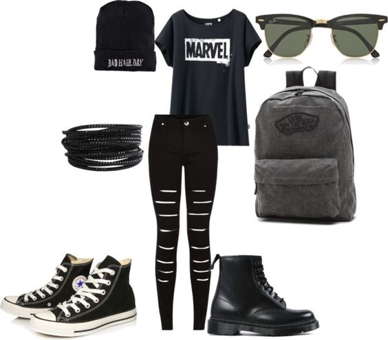 Tomboys Have Style Too by ninjania on Polyvore featuring Uniqlo, Converse, Dr. Martens, Vans, Pieces, Ray-Ban and Boohoo