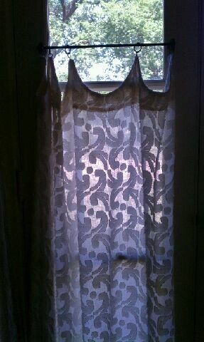 Curtains Ideas curtains for door sidelights : Linen door & sidelight curtain from a late 1920s cottage. Does ...