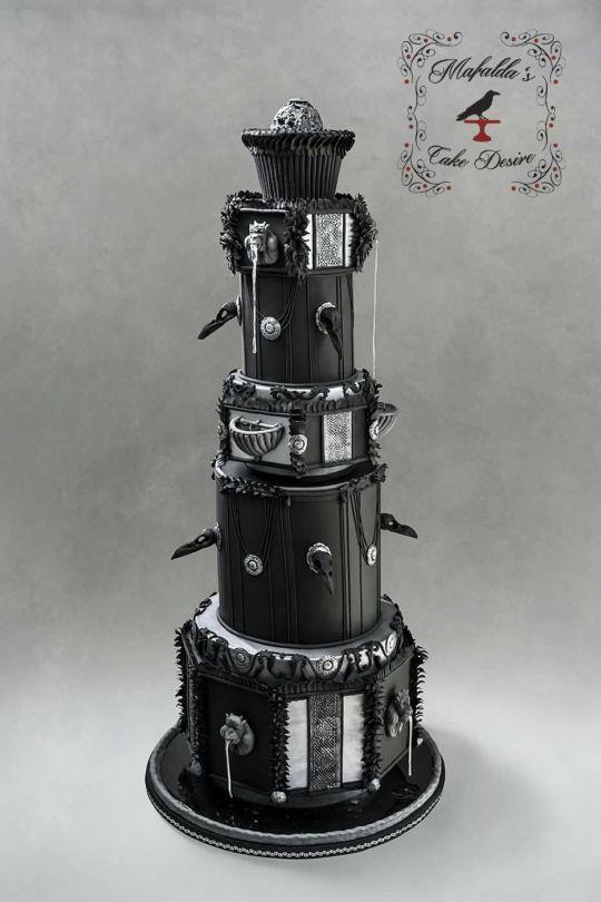 Black wedding fountain