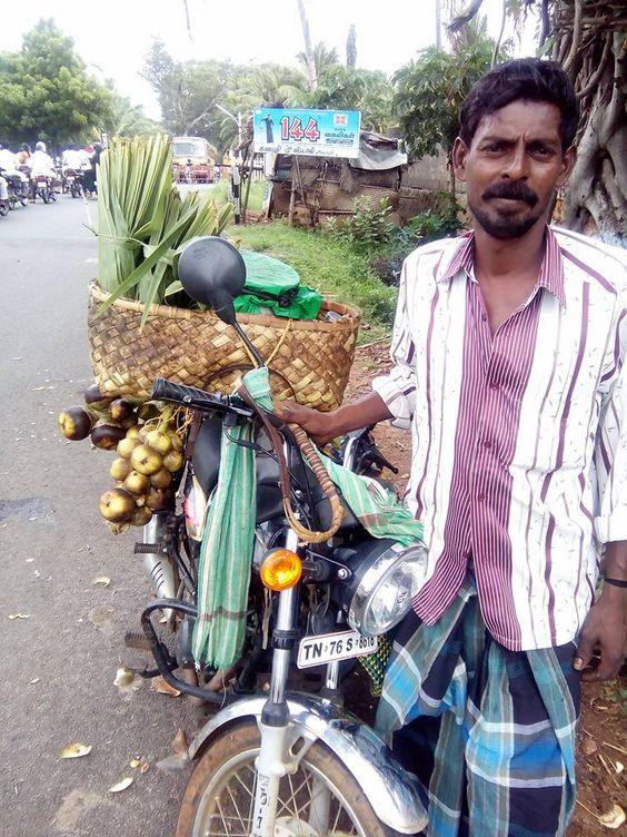 Palm fruit vendor. The fruit is nung / nungu in Tamil / Kannada.